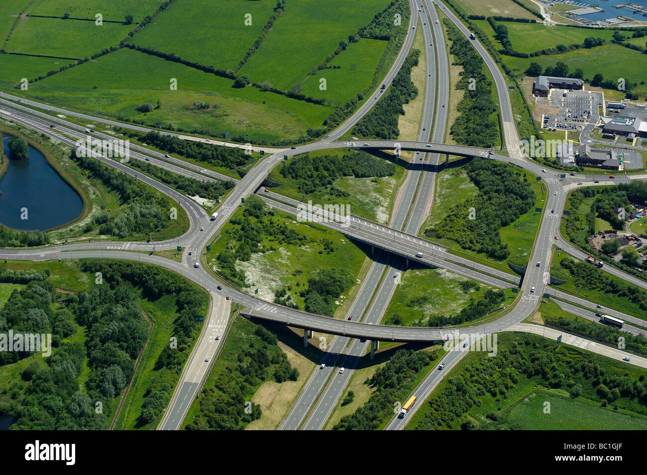 Trunk Road intersection, A38/A50 south of Derby, East Midlands, UK - Stock Image
