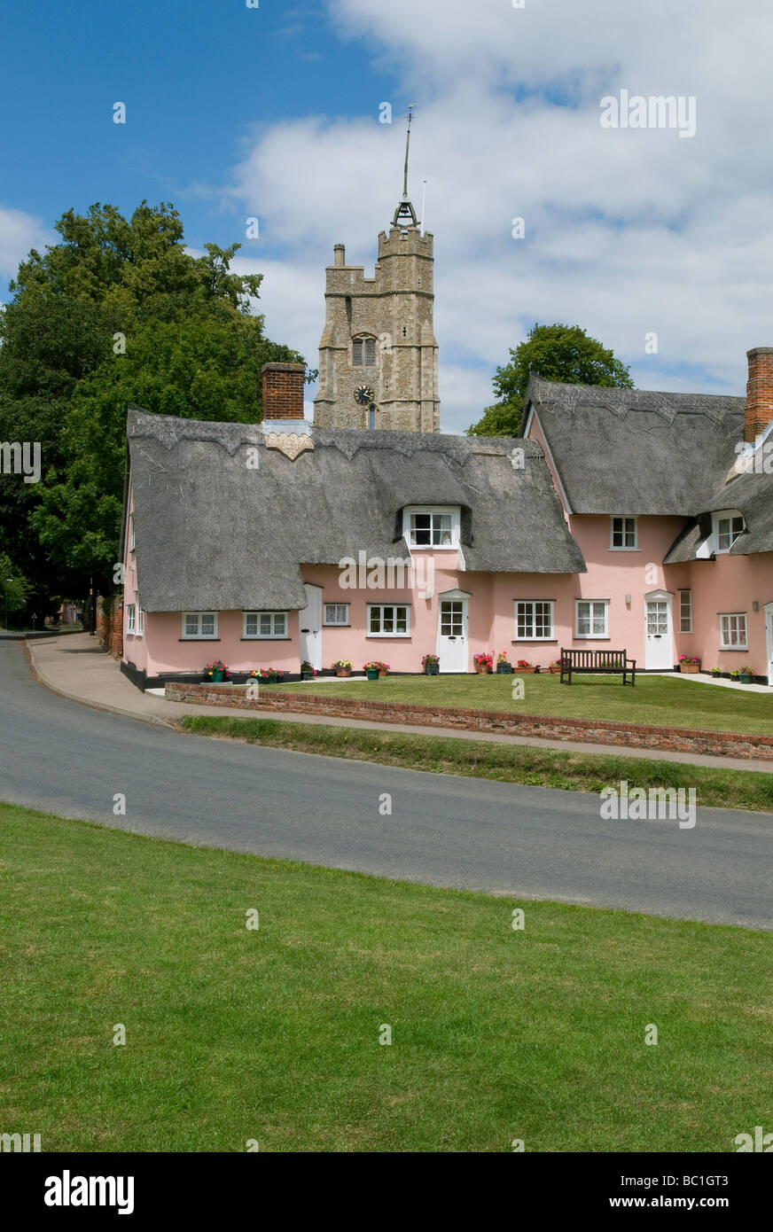pink thatched cottages, cavendish, suffolk, england - Stock Image