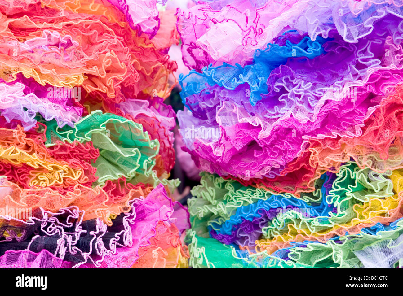Colourful fairy skirts for sale, The Strawberry Fair, Midsummer Common, Cambridge, England - Stock Image