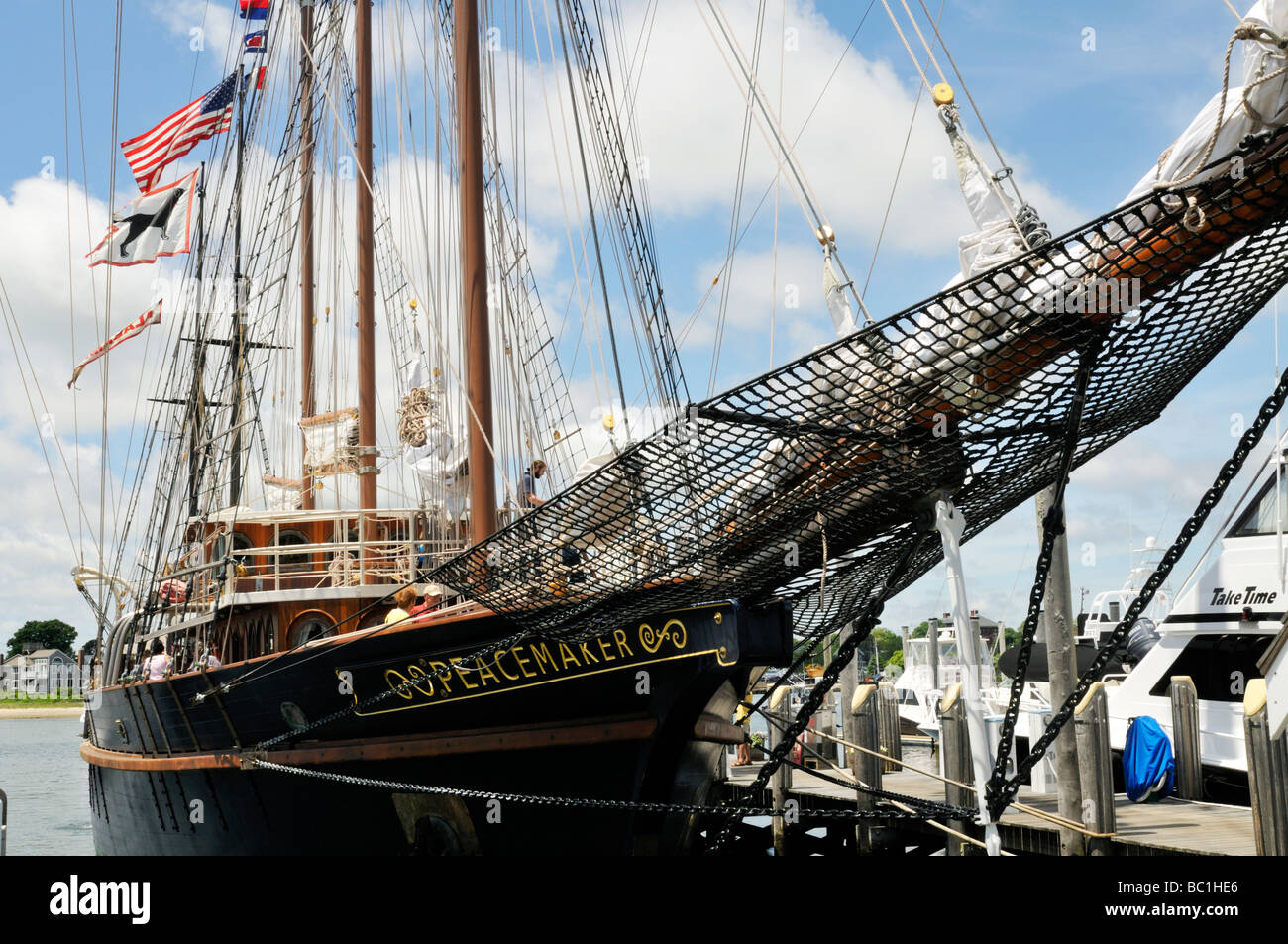Tall ship Peacemaker at dock from the bow Cape Cod USA - Stock Image