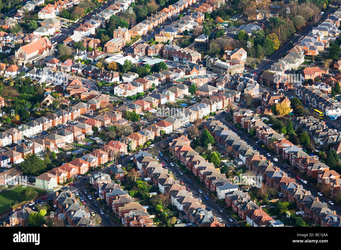Aerial view of streets and houses. Charminster, Bournemouth, Dorset, UK. - Stock Image