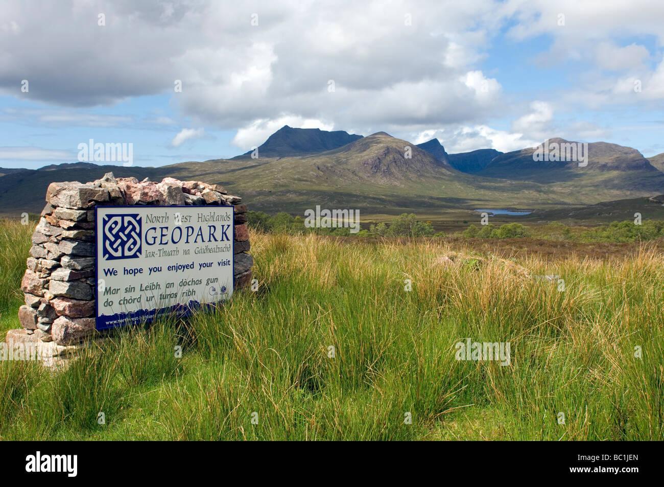 North West Highlands GEOPARK sign, Coigach, Highland Region, Scotland - Stock Image