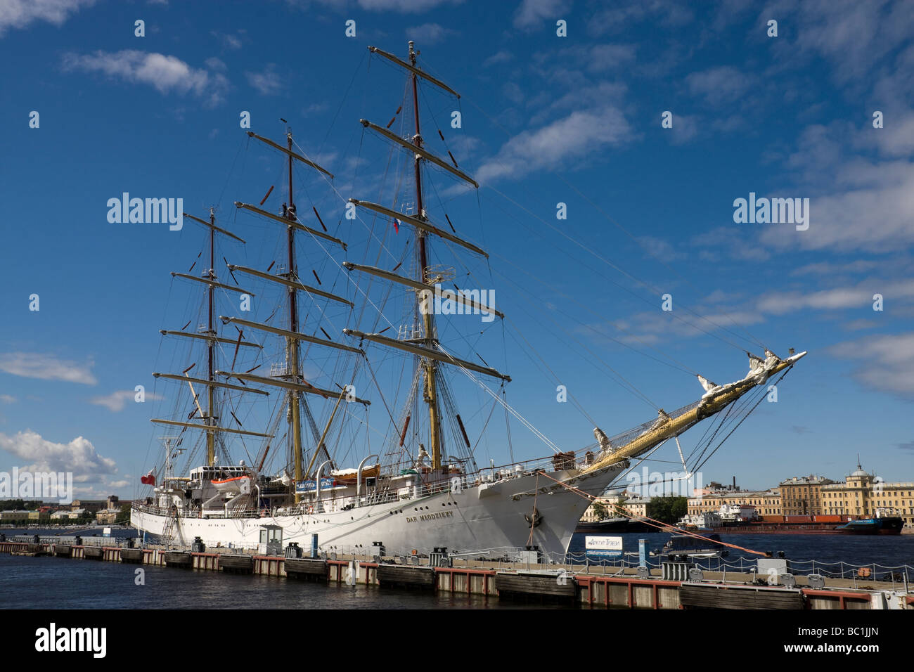 Polish sail ship DAR MLODZIEZY during the stay in St Petersburg Russia 21 06 2009 - Stock Image