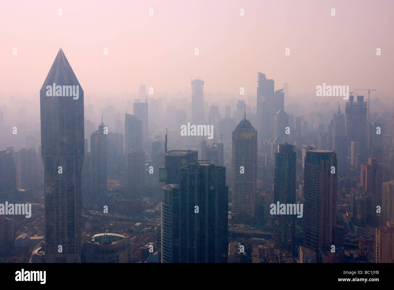 Downtown skyline dominated by Tomorrow Square Shanghai China - Stock Image