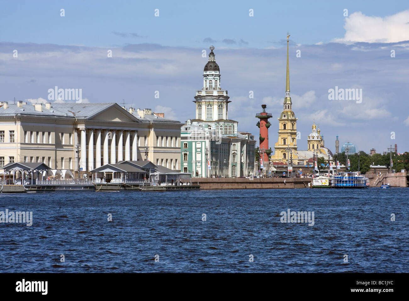 St Petersburg Russia View of Vassilievsky island with Kunstkamera and St Peter and Paul Fortress - Stock Image