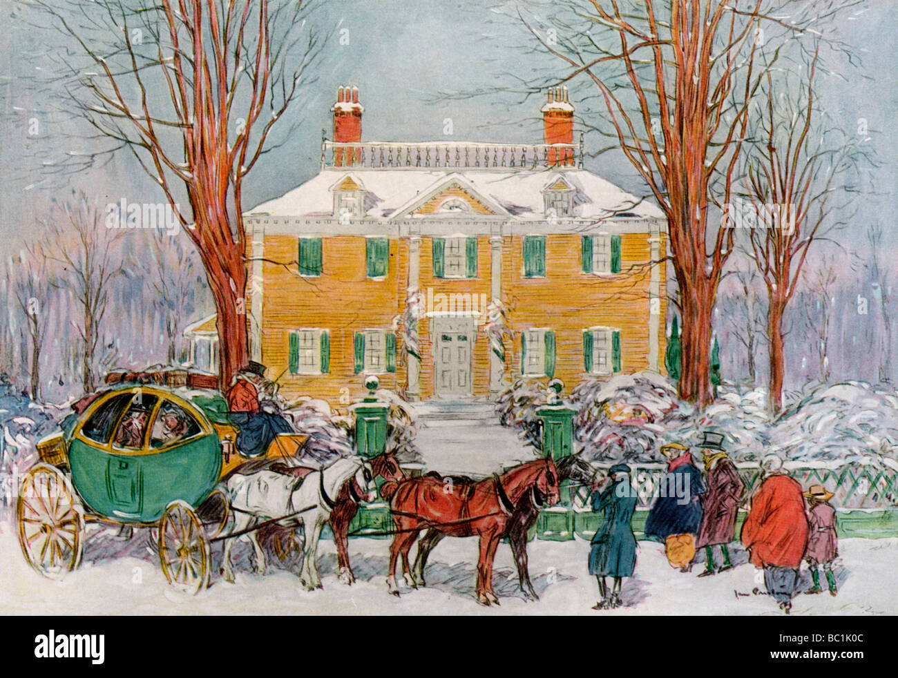 Longfellow House, Cambridge, Massachusetts, USA, c18th century (1921).Artist: James Preston - Stock Image