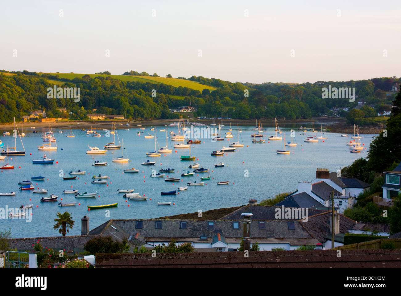 View Over The Village Of Helford Passage Cornwall England UK