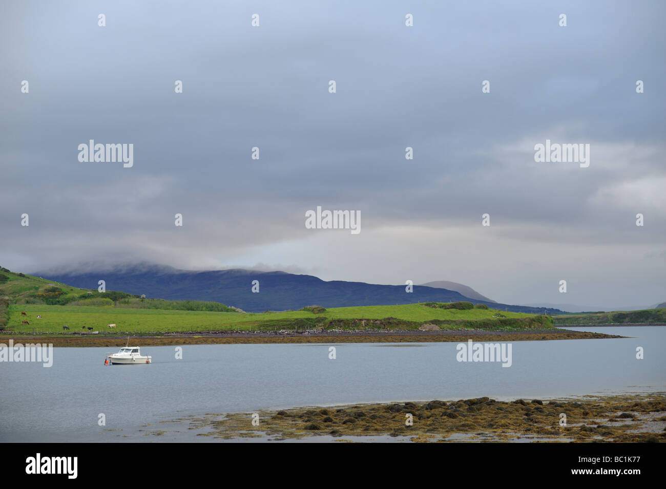 Clew bay under an overcast sky with Croagh Patrick in background and boat in County Mayo Ireland - Stock Image