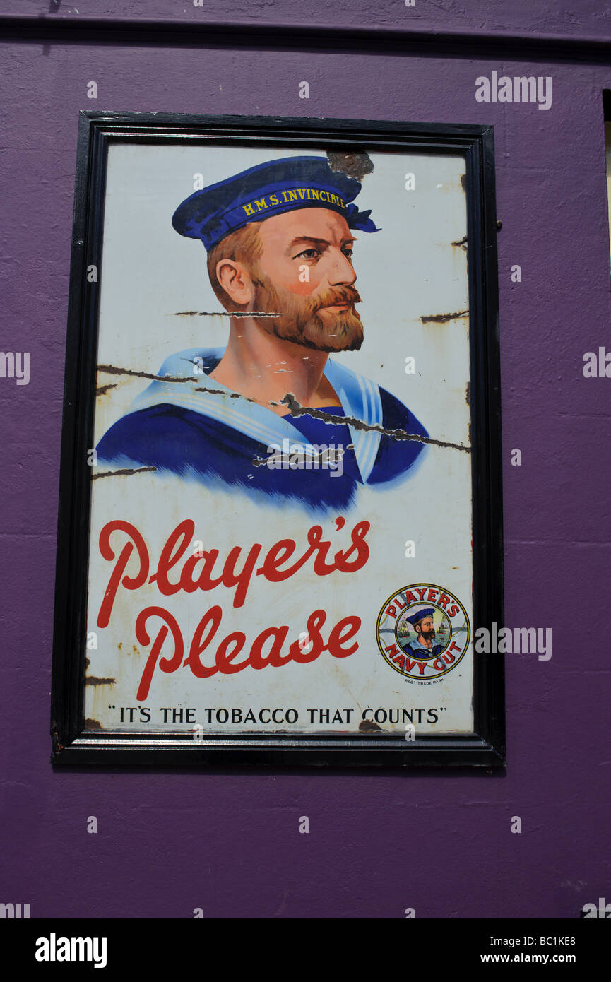 Players Please cigarette ad in Carrick on Shannon, Ireland - Stock Image