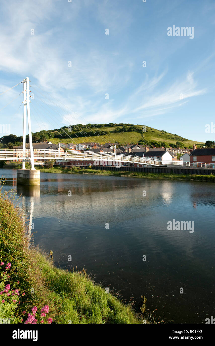 Pedestrian suspension footbridge ov er the river Rheidol Aberystwyth Wales UK - Stock Image