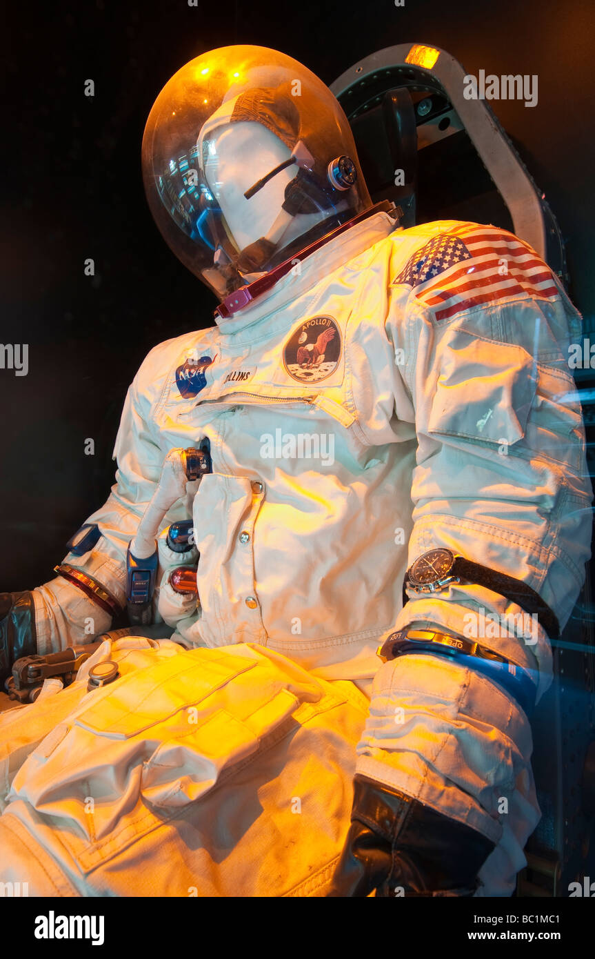 Michael Collins Apollo 11 space suit, Kansas Cosmosphere and Space Center, Hutchinson, Kansas. - Stock Image