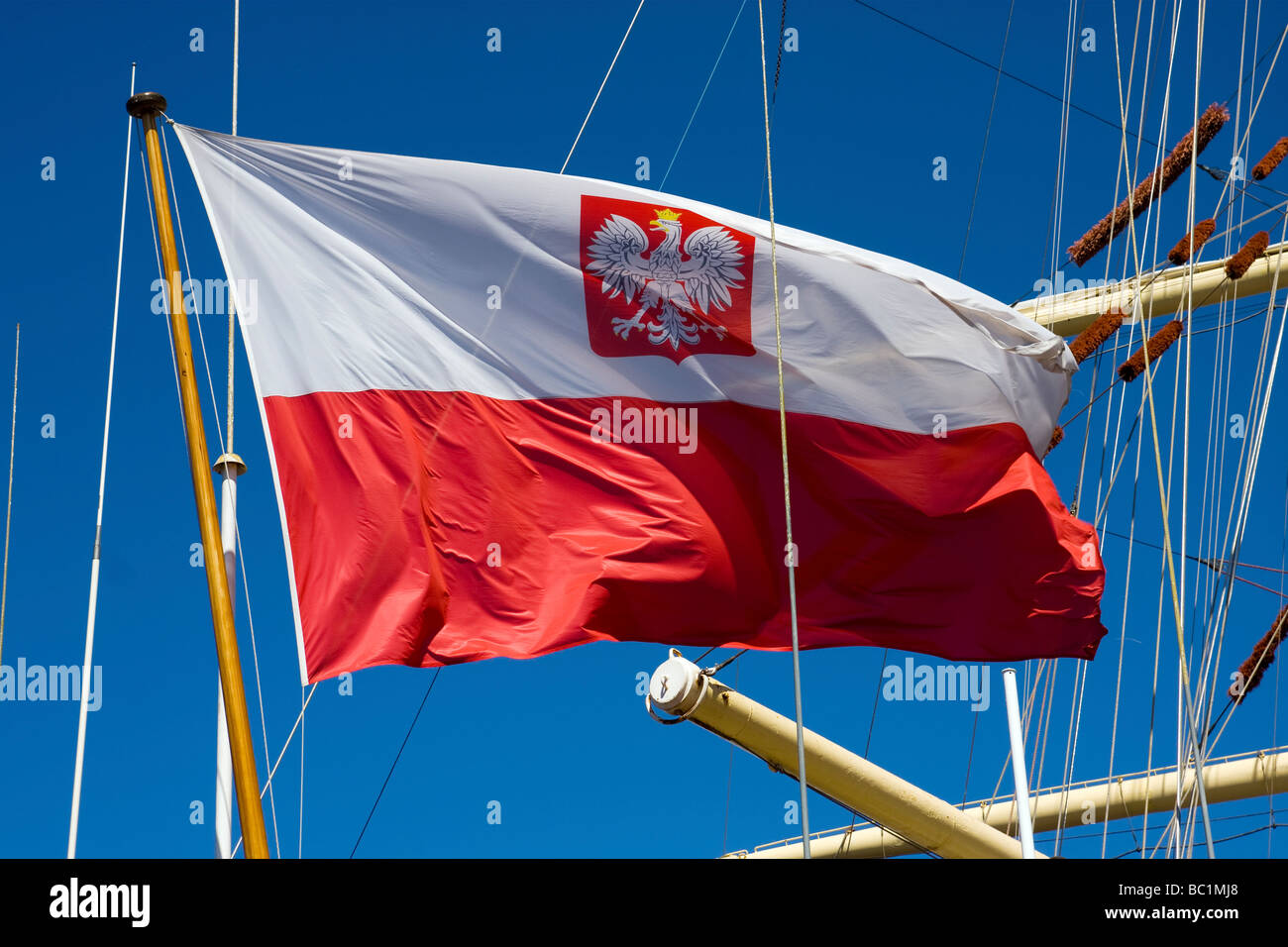 Flag of Poland at DAR MLODZIEZY sail ship during the stay in St Petersburg Russia 21 06 2009 - Stock Image