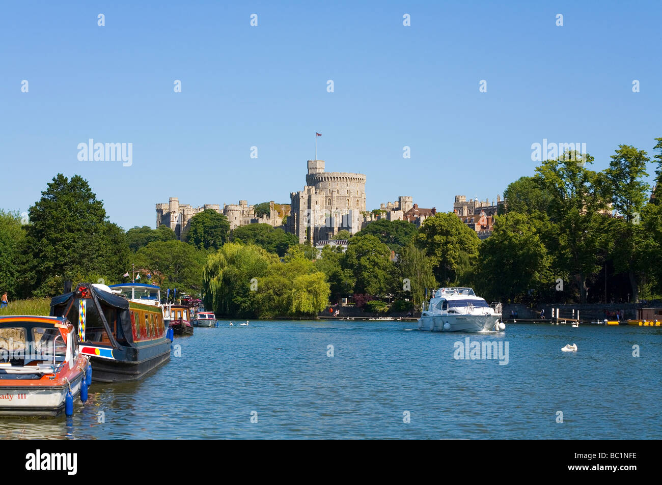 Windsor Castle and the river Thames in England - Stock Image