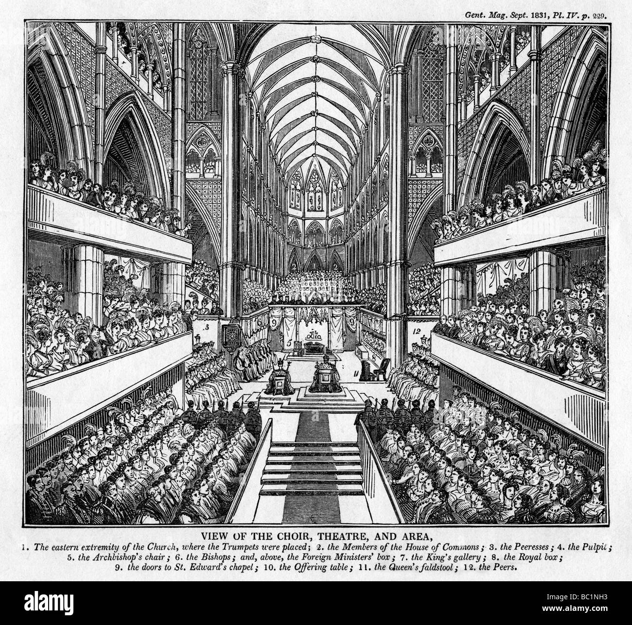 Coronation of King William IV and Queen Adelaide, Westminster Abbey, London, 1831. Artist: Unknown - Stock Image