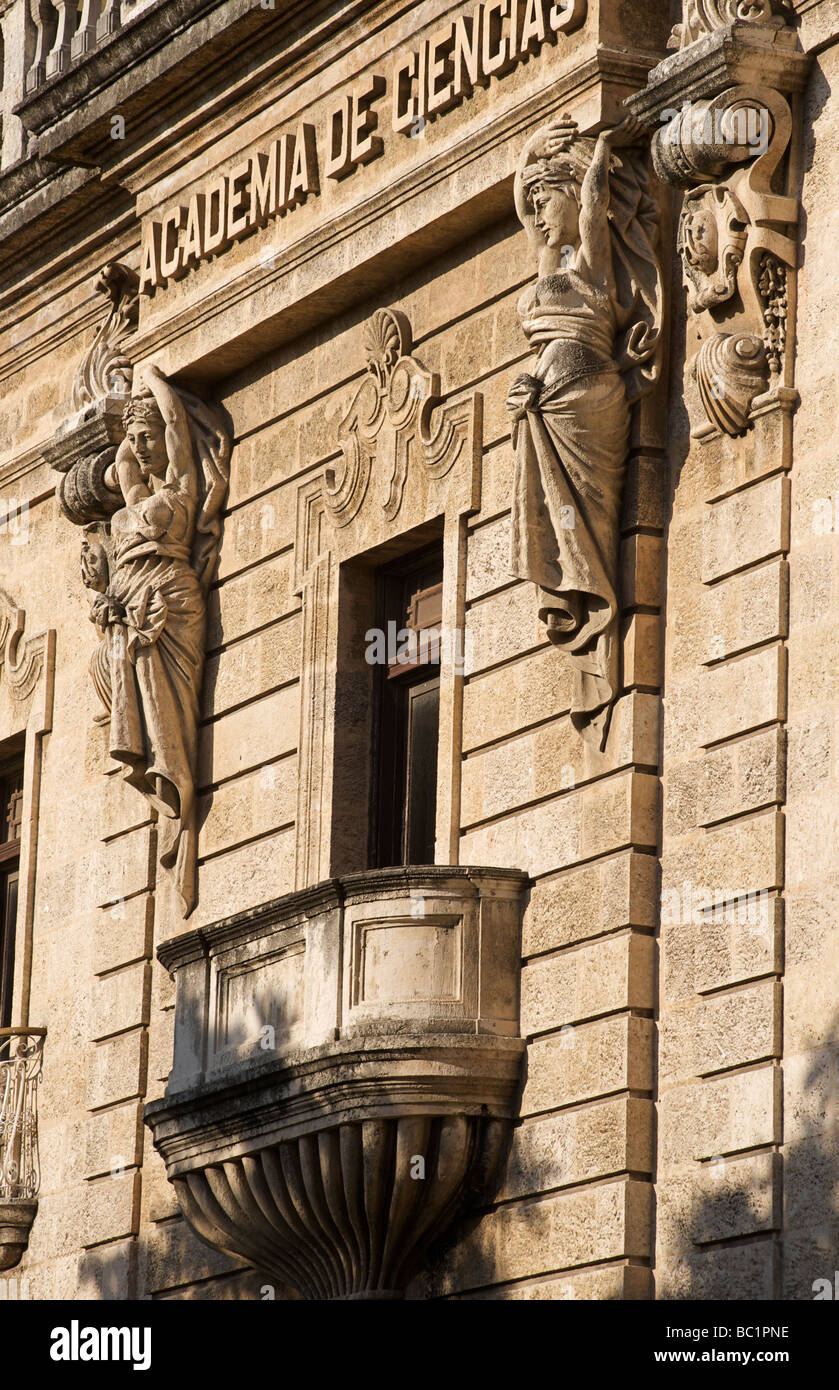 Facade of the Academia de Ciencias, Old Havana, Cuba - Stock Image