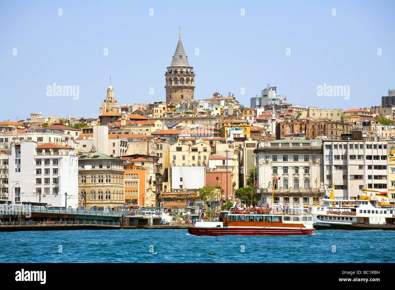 View across the Bosphorus to Beyoglu and the Galata Tower Istanbul - Stock Image