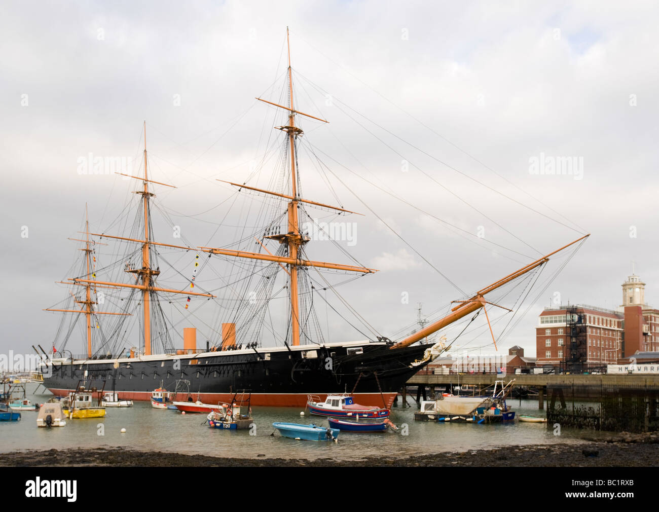 HMS Warrior (1861), the Royal Navy's first iron-hulled, arnour-plated warship, Portsmouth Historic Dockyard, Portsmouth, Stock Photo