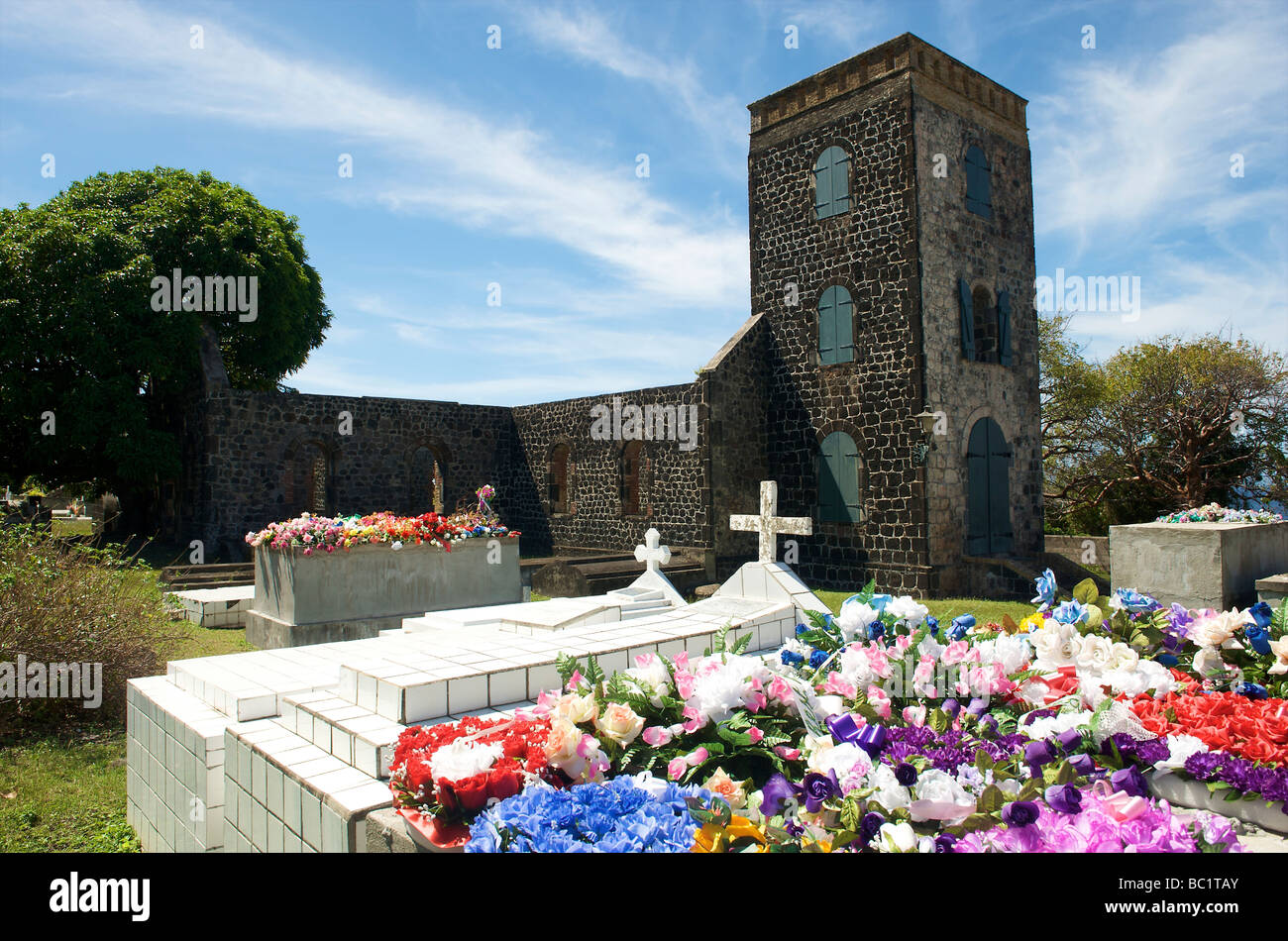 Sint Eustatius graveyard of the old protestant church - Stock Image