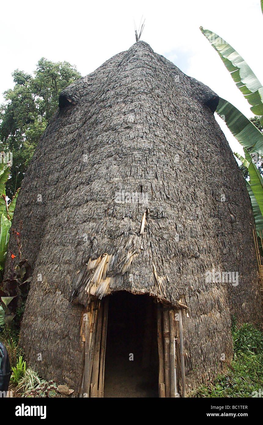 Africa Ethiopia Omo region Chencha Dorze village Traditional elephant shaped straw hut - Stock Image
