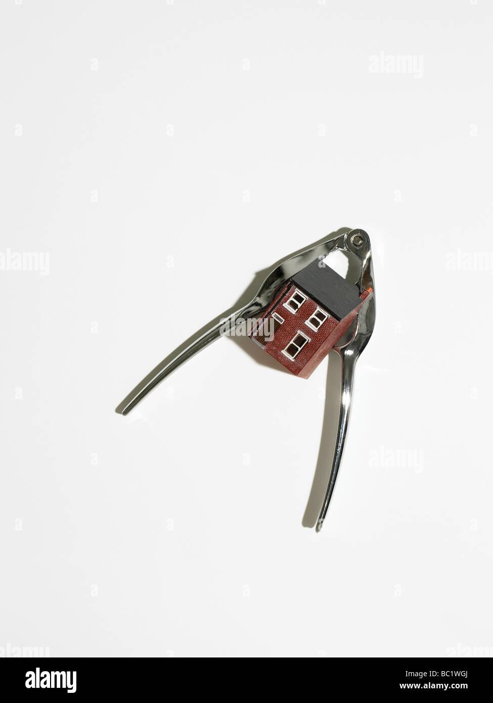 model house in nut cracker - Stock Image