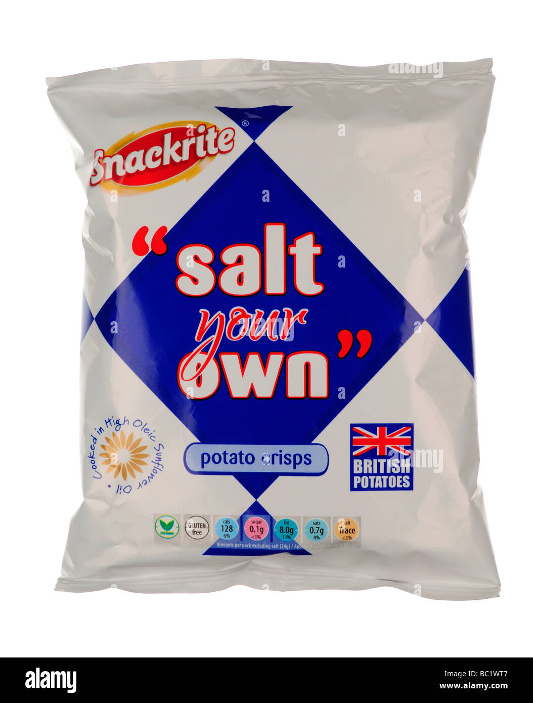 Packet of Salt your Own Plain Crisps - Stock Image