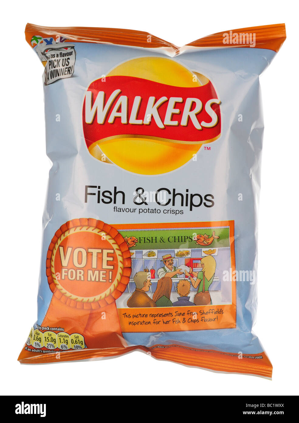 Packet of Walkers Fish Chips Flavour Crisps - Stock Image