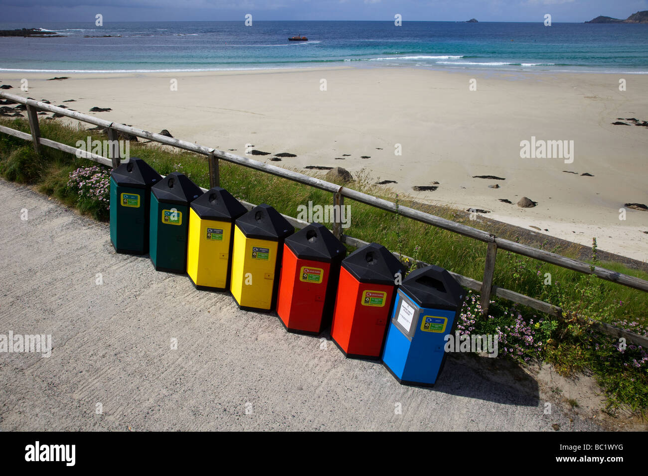 Various Council Litter Bins for Recycling refuse, rubbish, enviornmental waste at Sennen Cove beach on the Land's - Stock Image