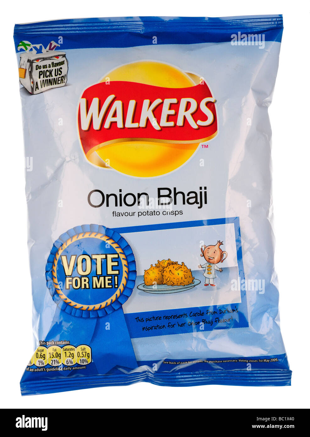 Packet of Walkers Onion Bhaji Flavour Crisps - Stock Image