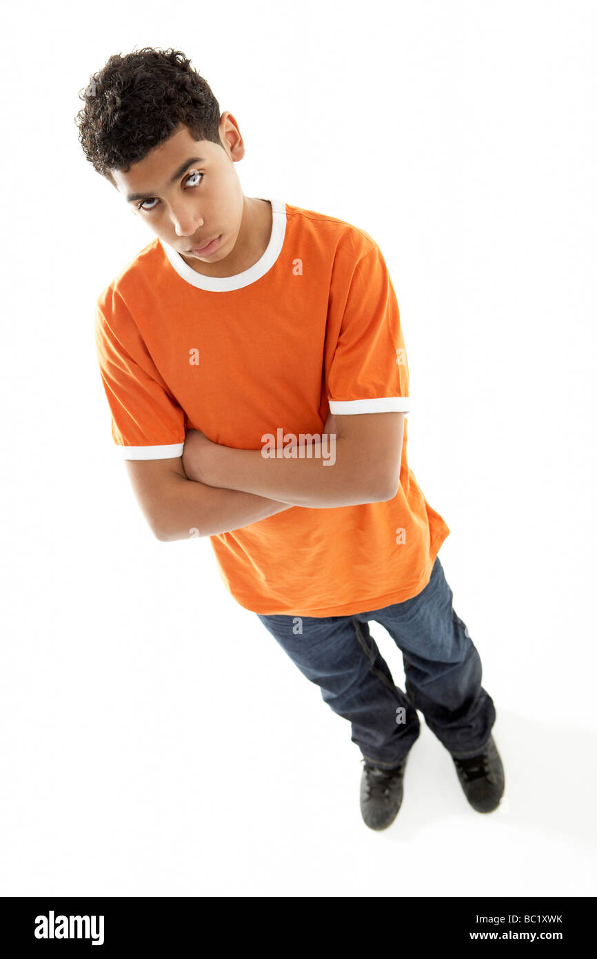 Full Length Portrait Of Young Boy - Stock Image
