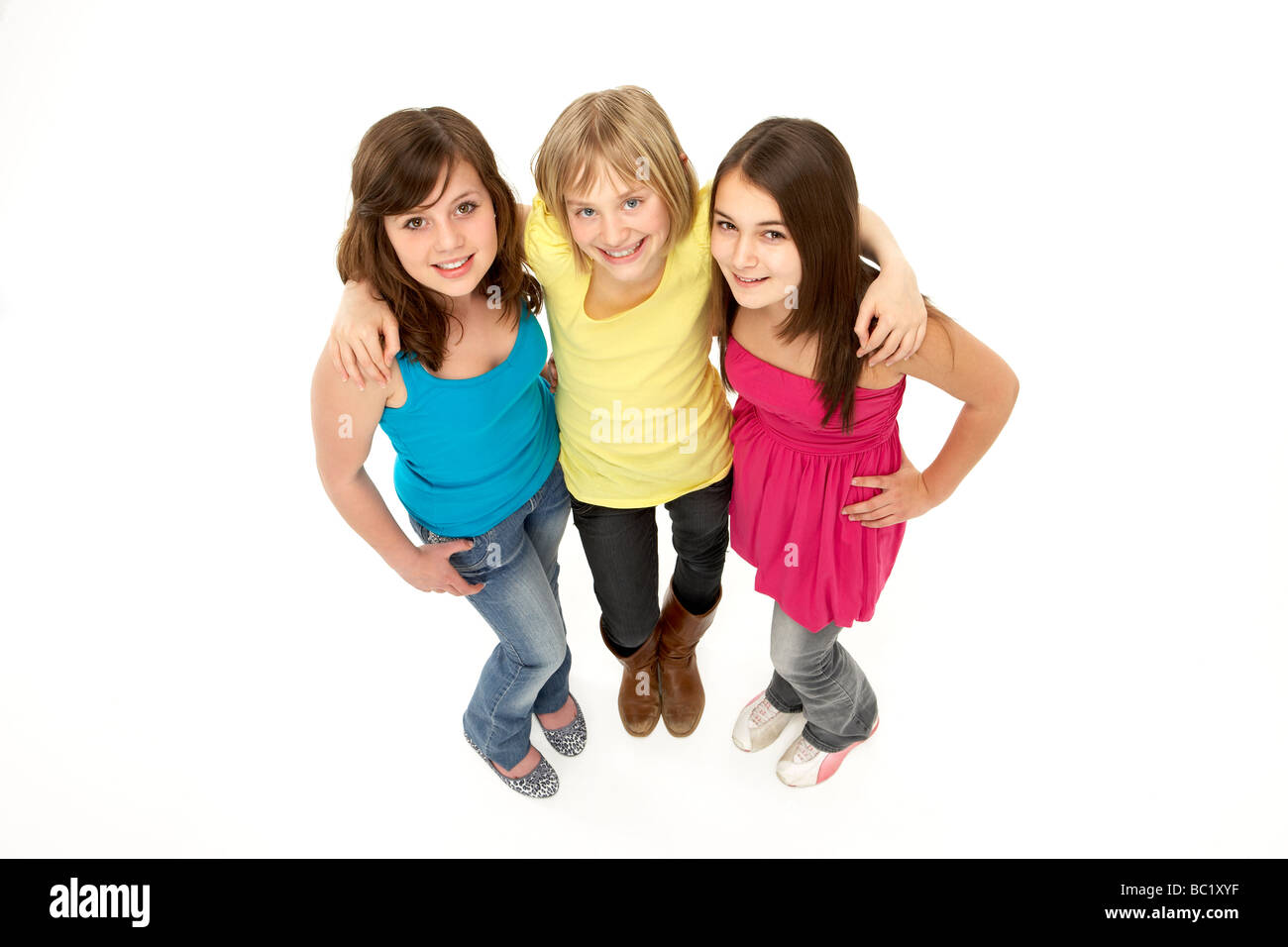 Group Of Three Young Girls In Studio - Stock Image