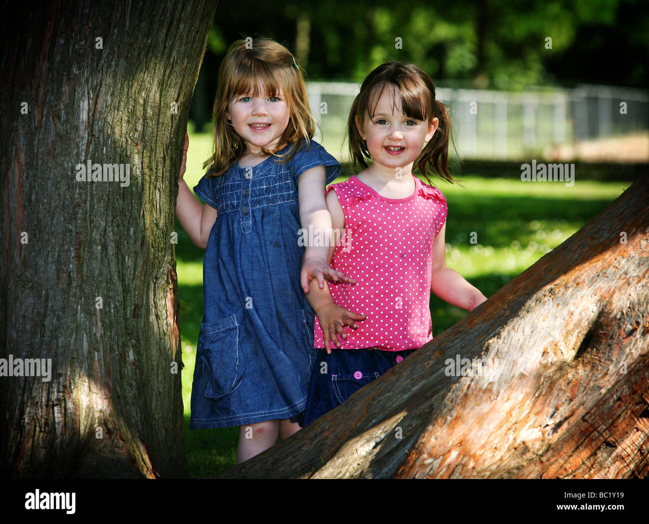 Two 3 Year Old Pre School Toddlers Girl Best Friends Playing