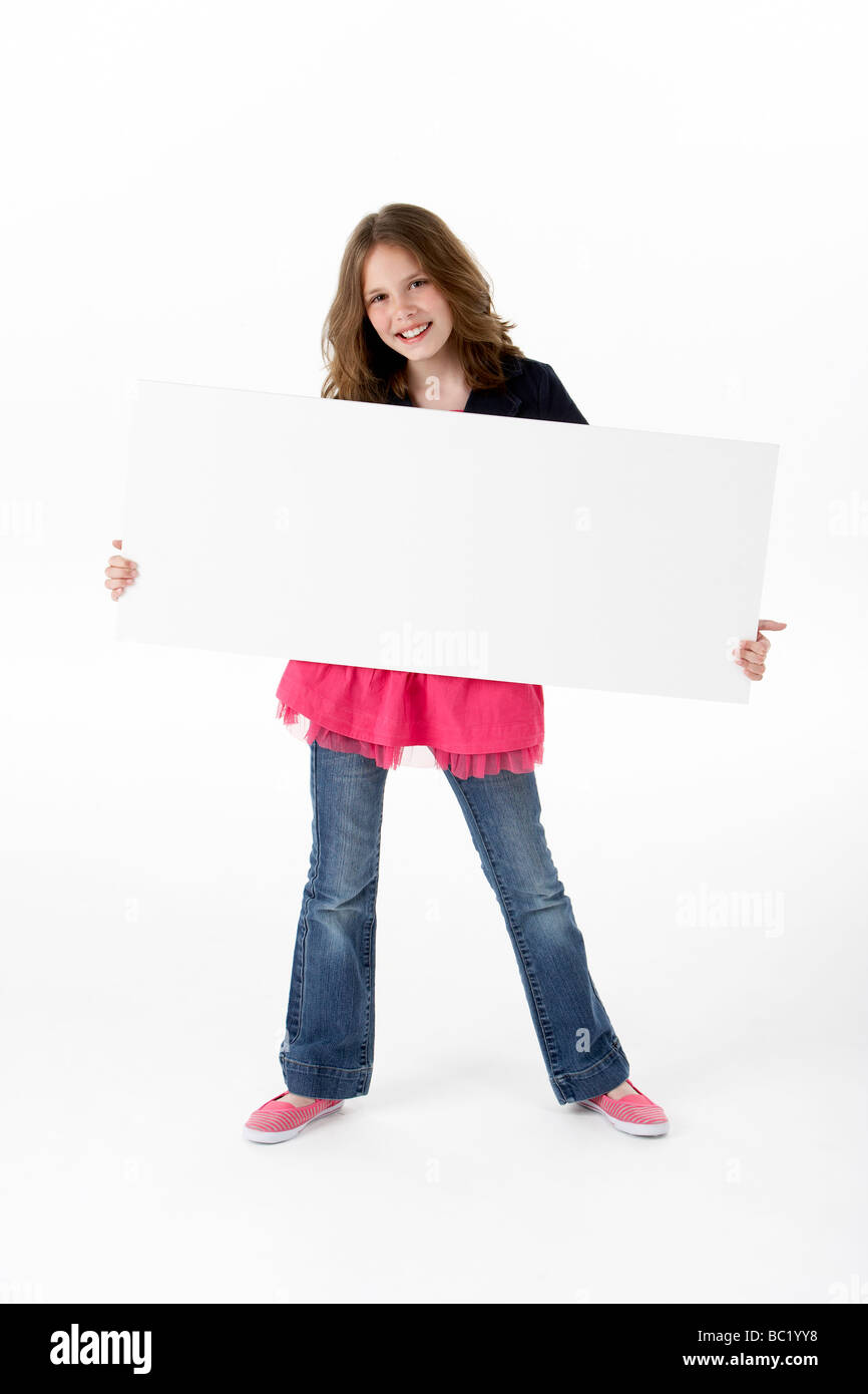 Young Girl Holding Party White Card - Stock Image