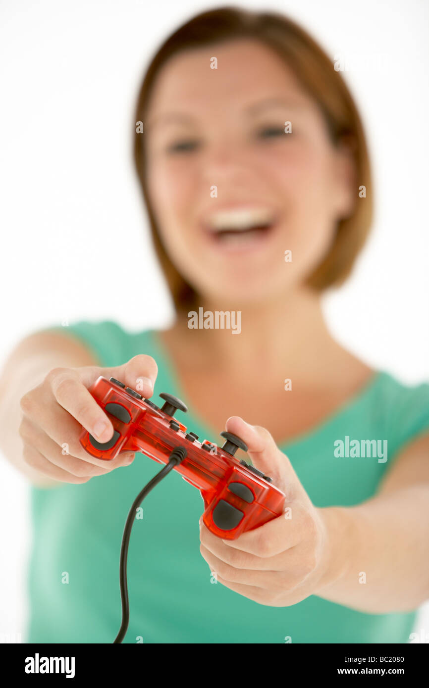 Woman Holding Video Game Controller - Stock Image