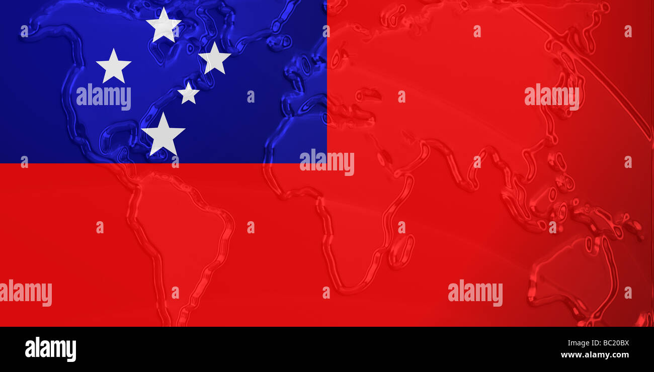 flag of samoa national country symbol illustration with world map metallic embossed look stock image