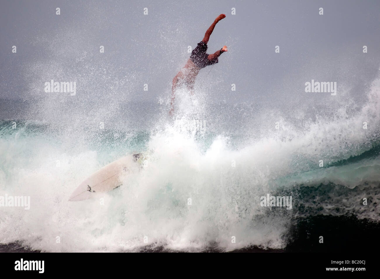 Surfer surfs wipe out, flys off of board ocean spray as wave breaks dramatic, arugam bay east coast Sri Lanka - Stock Image