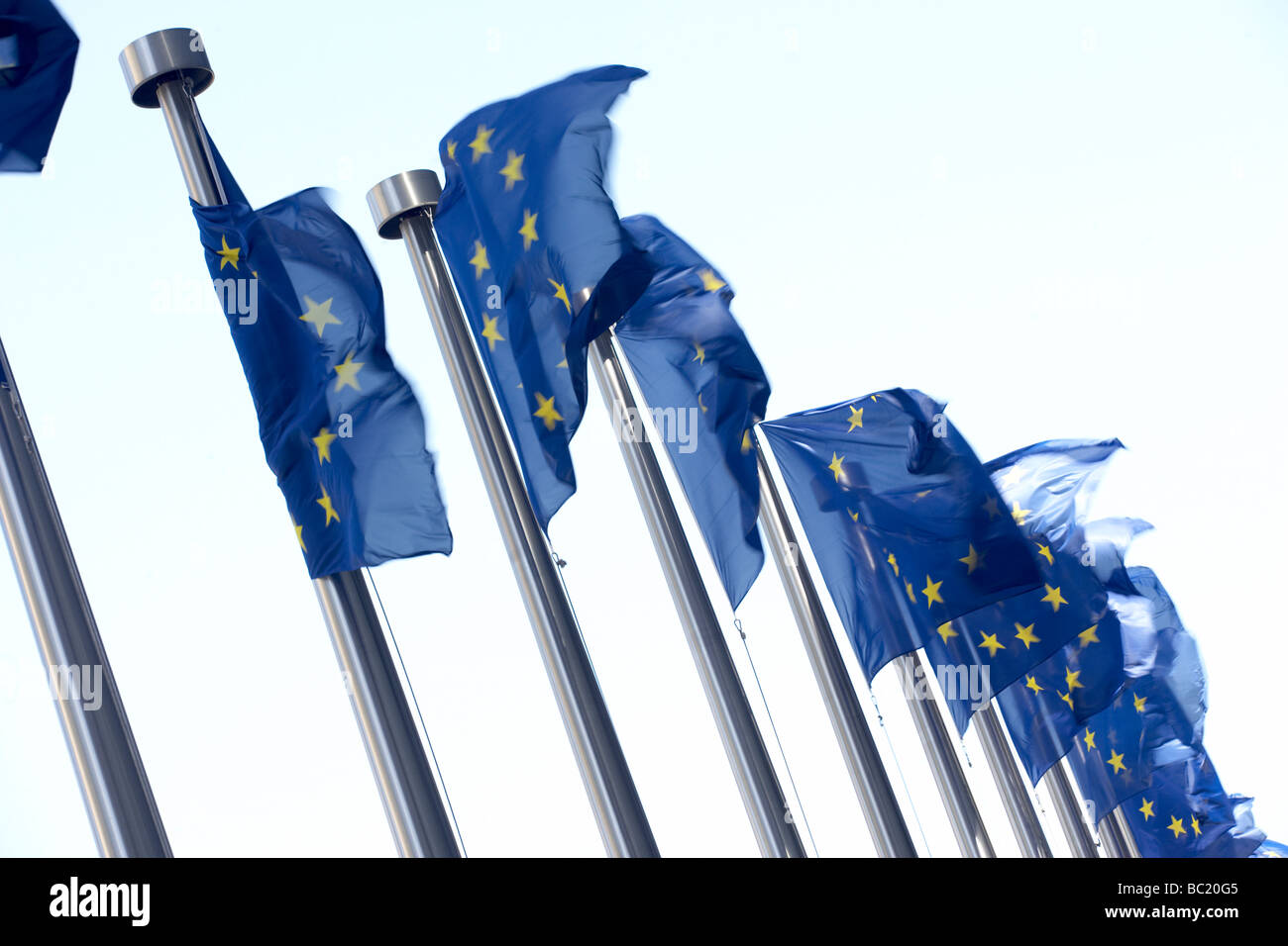 Flags Flying Outside European Commission Building - Stock Image