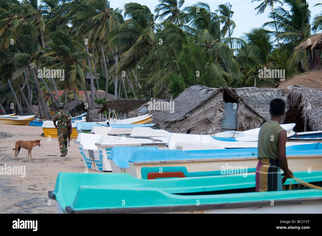 Arugam Bay Sri Lanka fisherman working on the beach armed soldier walking beside boats palm trees fishermen huts Stock Photo