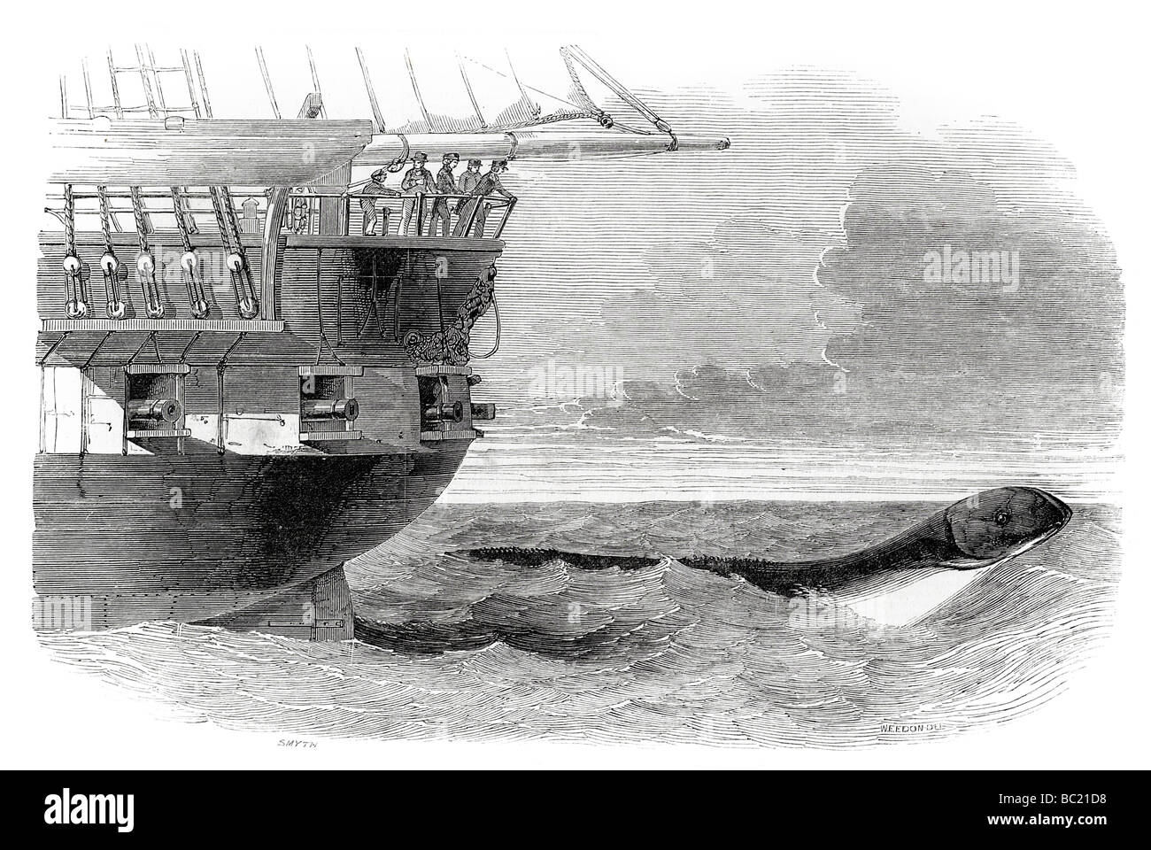 the sea serpent passing under the stern of the daedalus - Stock Image