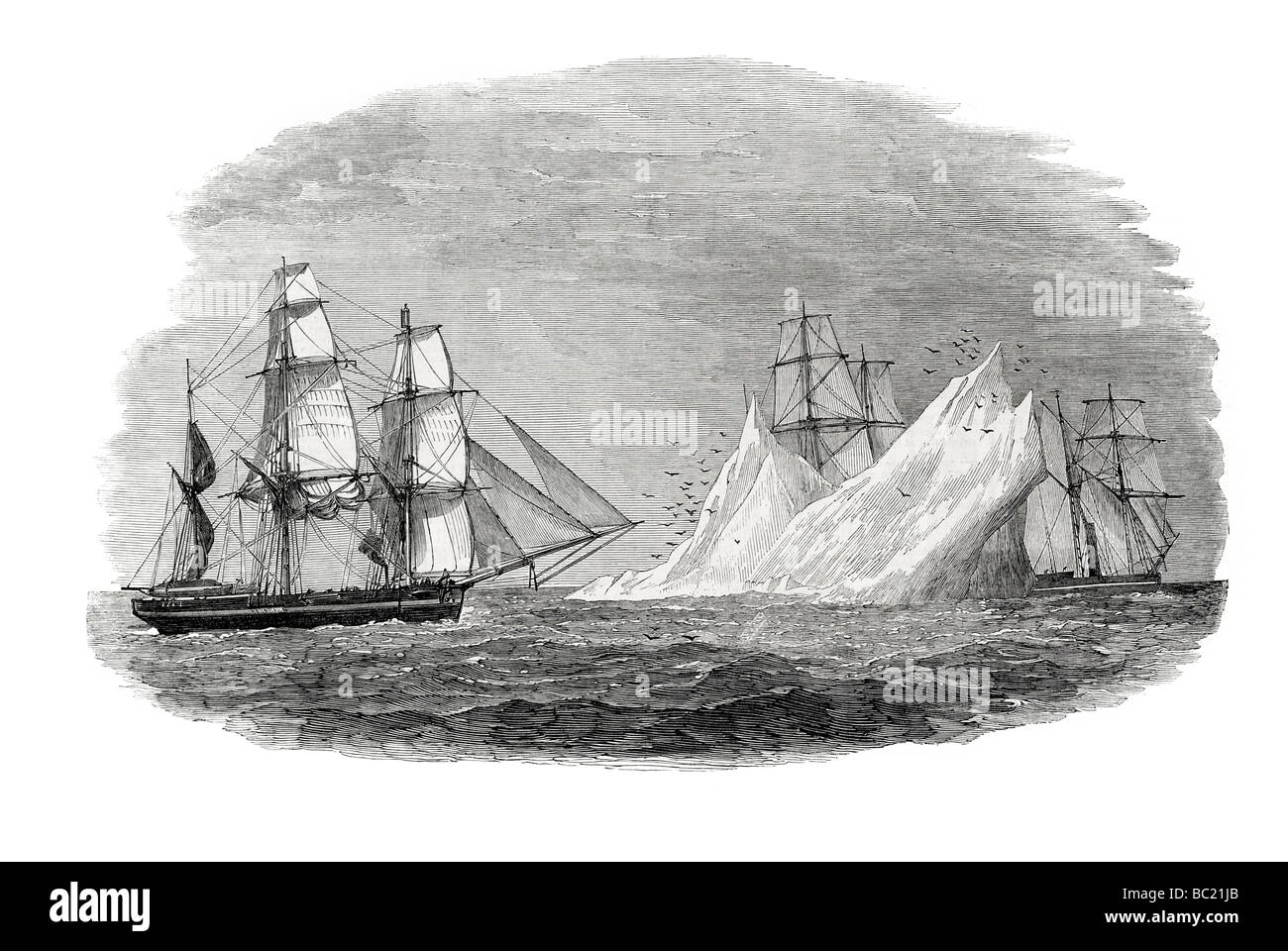 arctic expedition in search of sir john franklin first iceberg seen june 3 - Stock Image