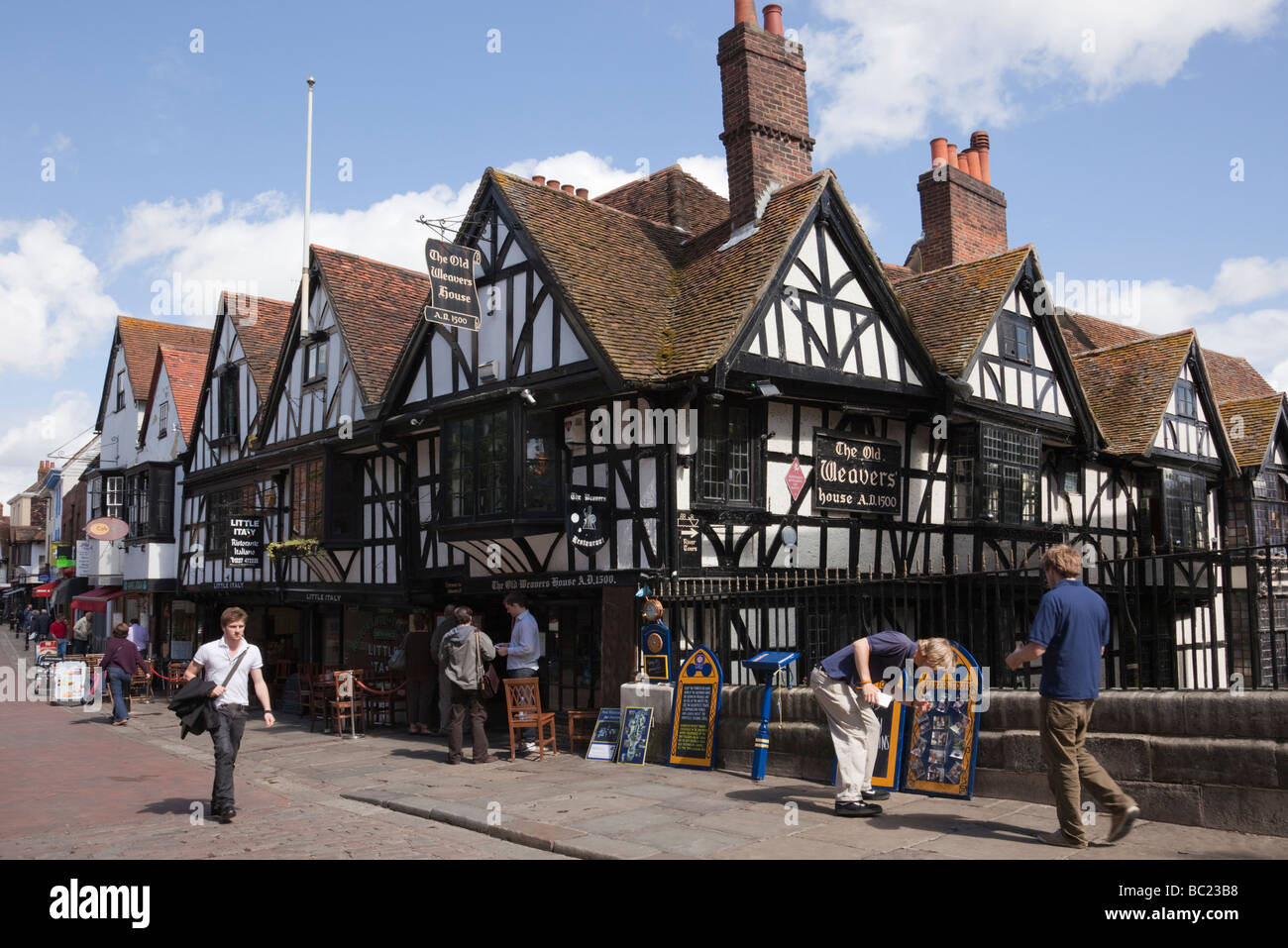 16th century Old Weavers House restaurant in timber-framed building circa 1500 in city centre. Canterbury Kent England - Stock Image