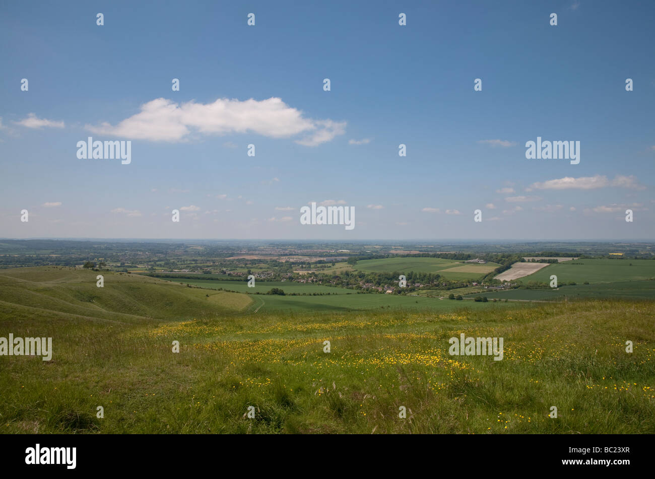 view over the north Wiltshire countryside from the top of Cherhill Down near Calne on a sunny summer day Stock Photo