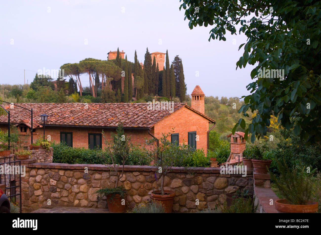 Castle in the Tuscan Hills - Stock Image