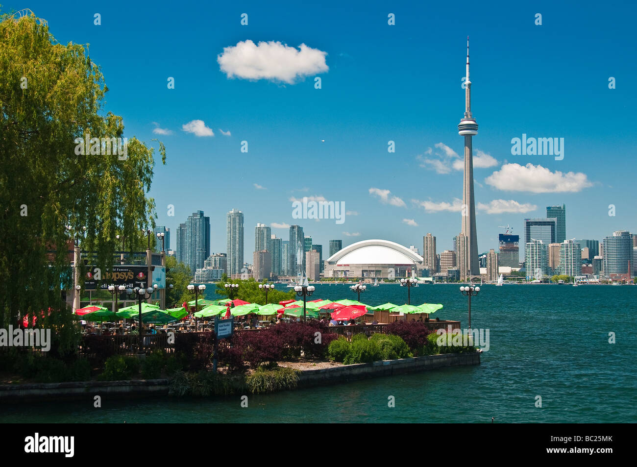 View of Toronto Skyline from Center Island across Lake Ontario, Canada - Stock Image