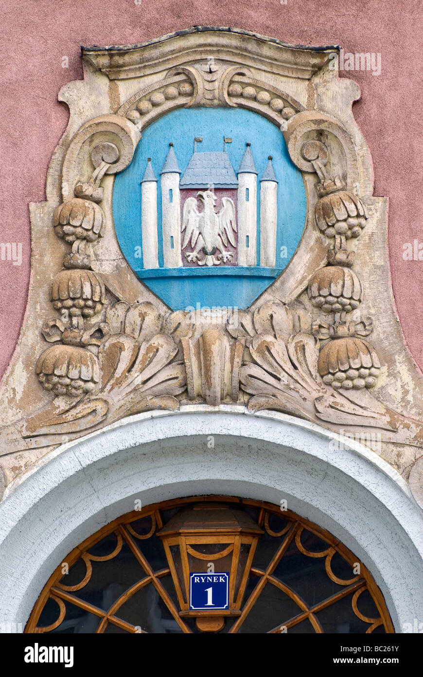 Cartouche with coat of arms of town at Ratusz Town Hall in Międzyrzecz Lubuskie Voivodeship Poland - Stock Image