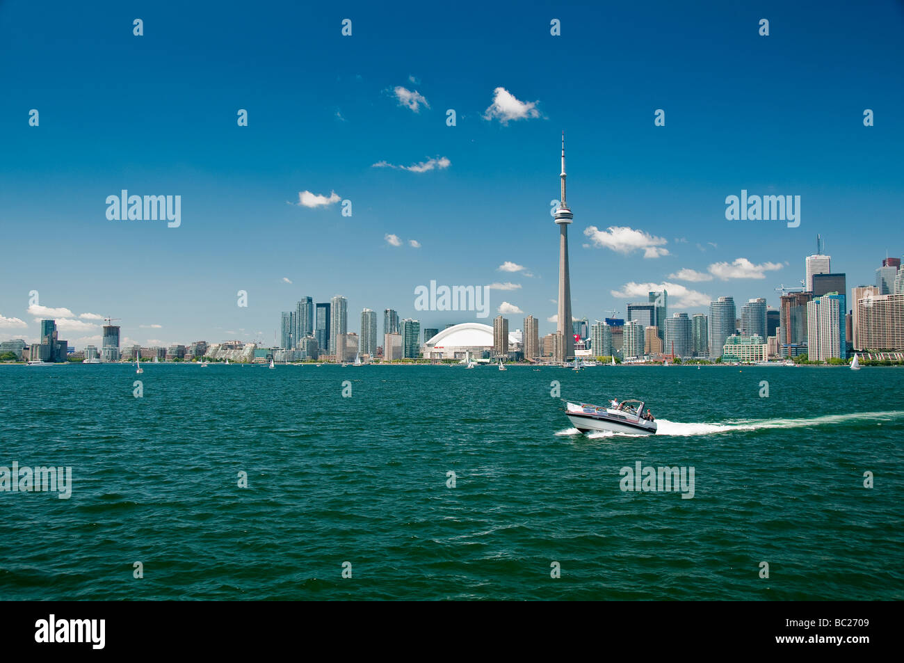 Toronto  Skyline with jet boat in the foreground, Toronto,Ontario,Canada - Stock Image
