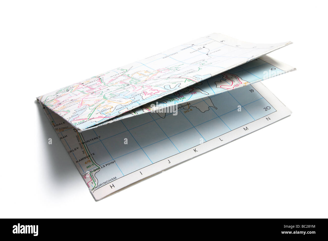 Folded Paper Street Map - Stock Image