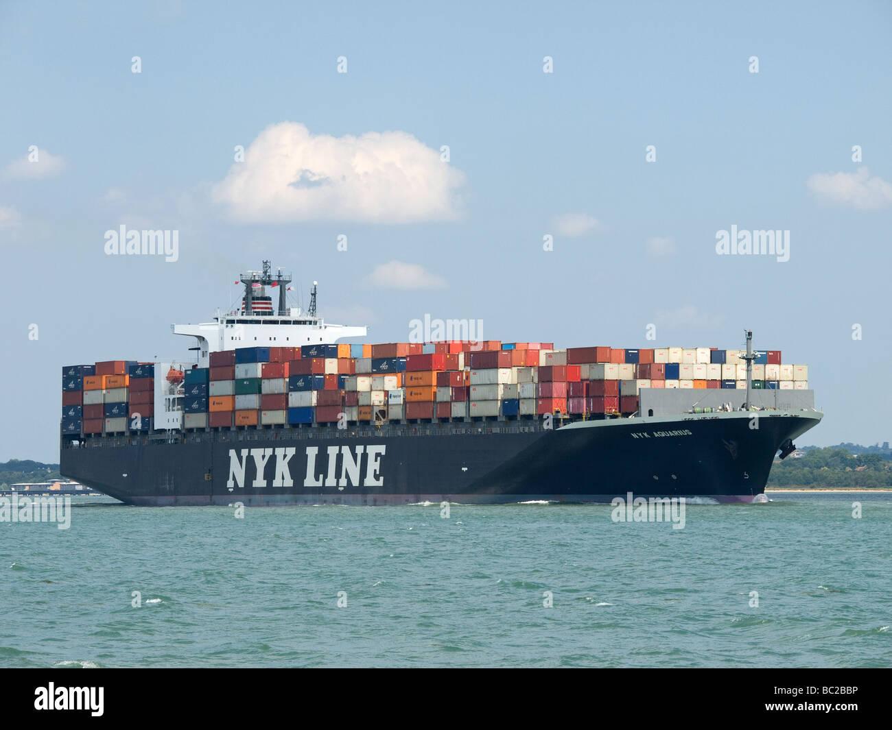 Container ship NYK Aquarius leaving Southampton UK - Stock Image