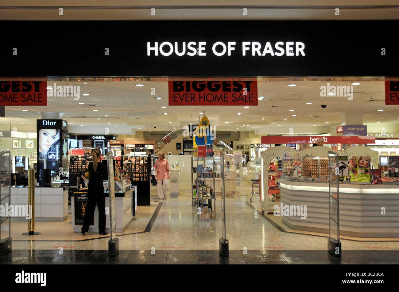 Shopping mall entrance House of Fraser department store retail business shop  staff sale shopping   shopper Lakeside shopping centre Thurrock Essex UK 6dca27397