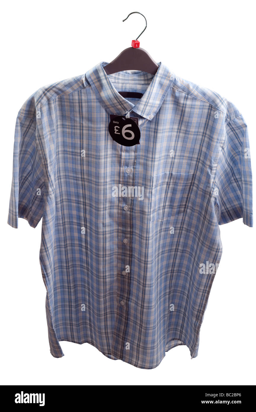 Mans blue checked large size buttoned down collar short sleeved shirt wth price label - Stock Image