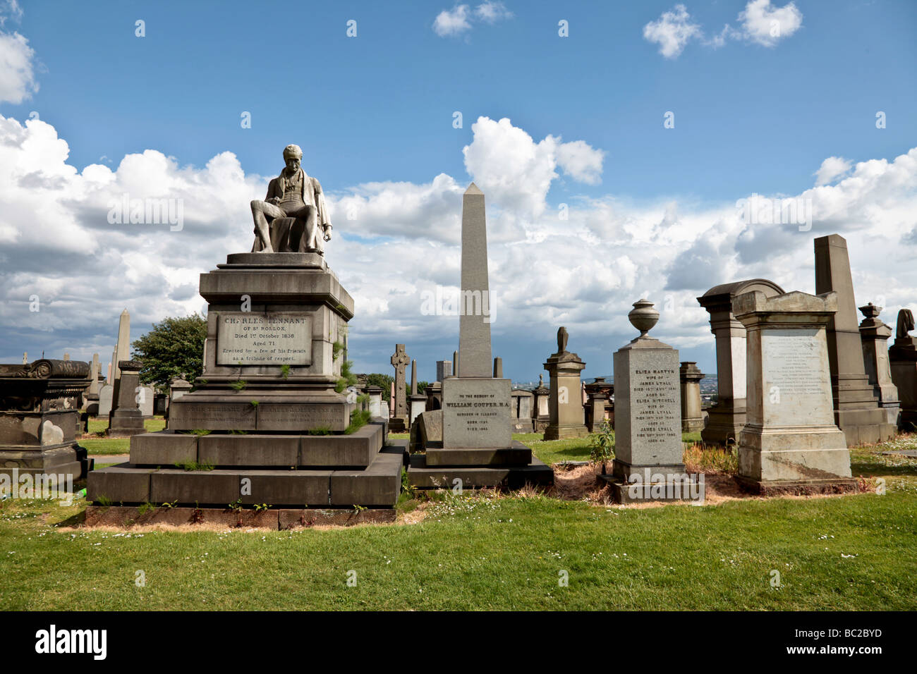Charles Tennant of St.Rollox Monument in Glasgow's Victorian Necropolis. Designed by Partick Park in1838; with - Stock Image
